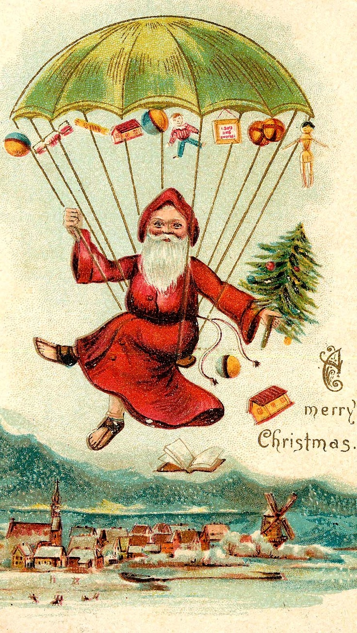 Vintage Christmas Card Santa Dropping Gifts From