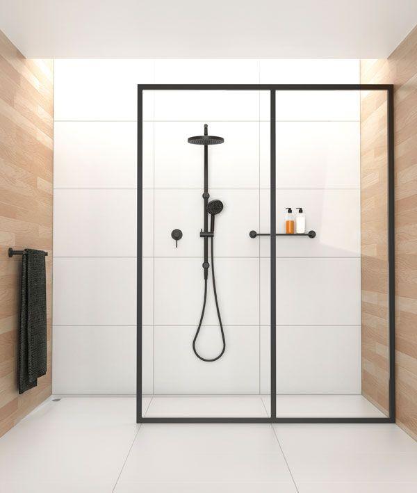 Black frame glass wall in shower