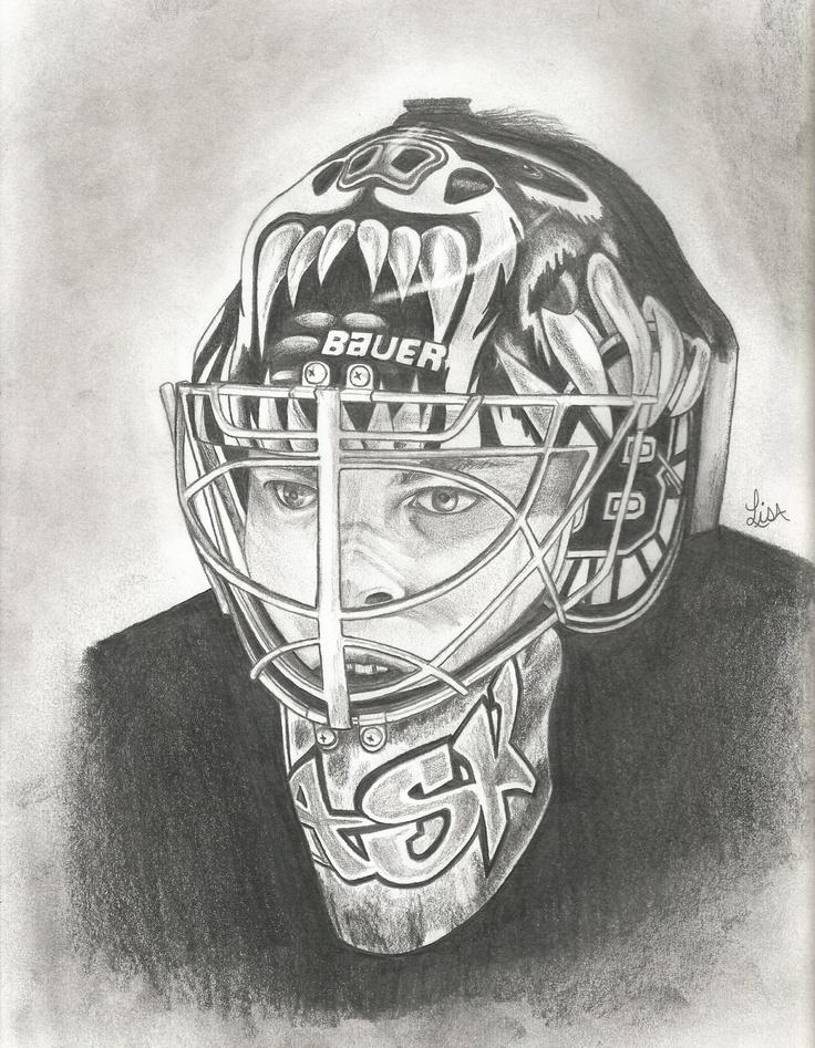 A Pencil Drawing Of Tuukka Rask Goalie For The Boston