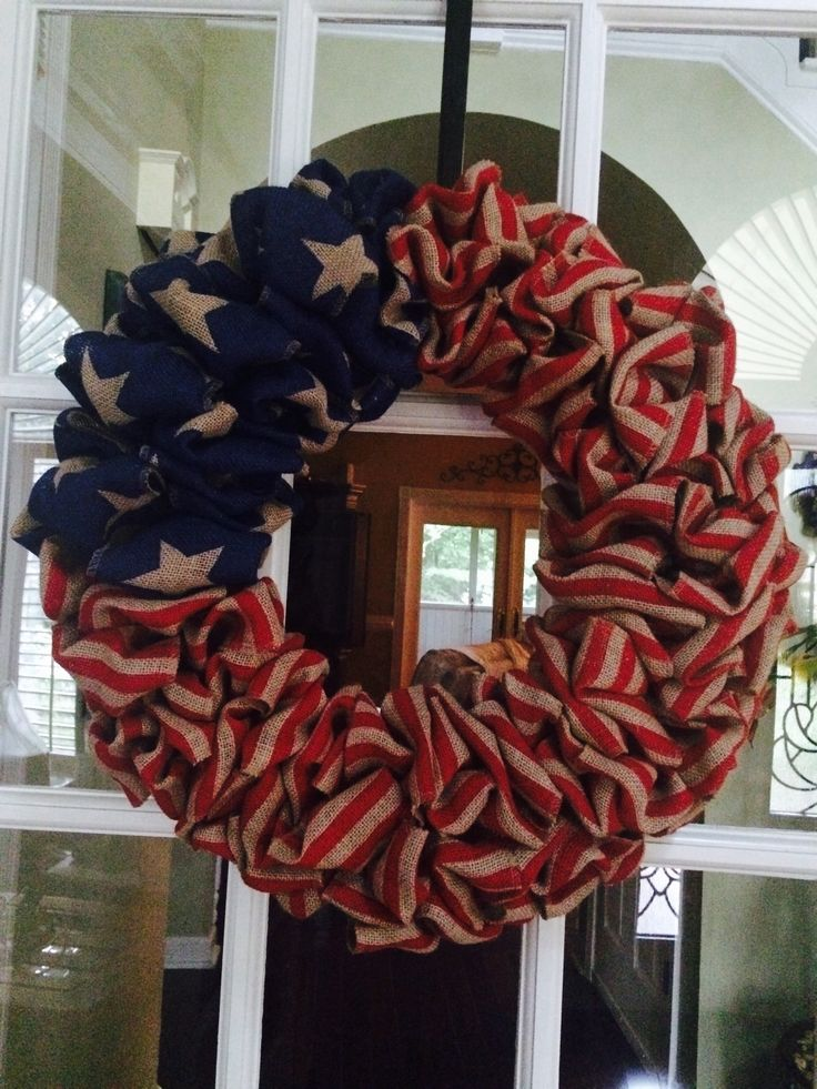American Flag Burlap Wreath My DIY Crafts Pinterest