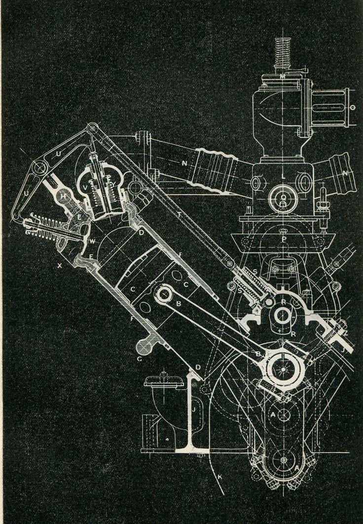 Mechanical Engineering Drawing Wolseley Engine 120 HP 8