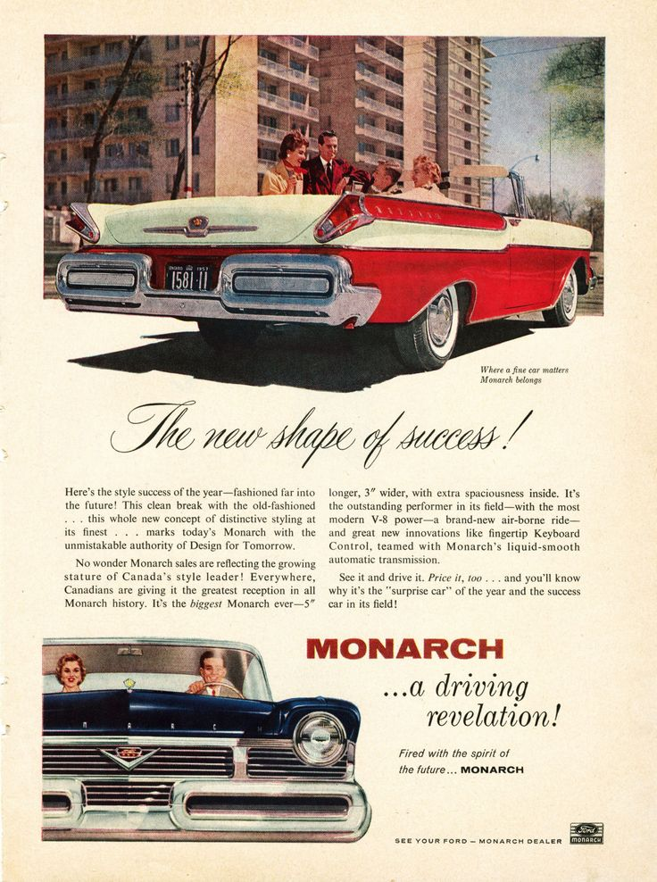 Vintage ad for 1957 Mercury Monarch Cars of 50's