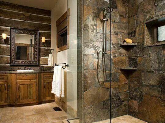 Stone Shower. Beautiful!