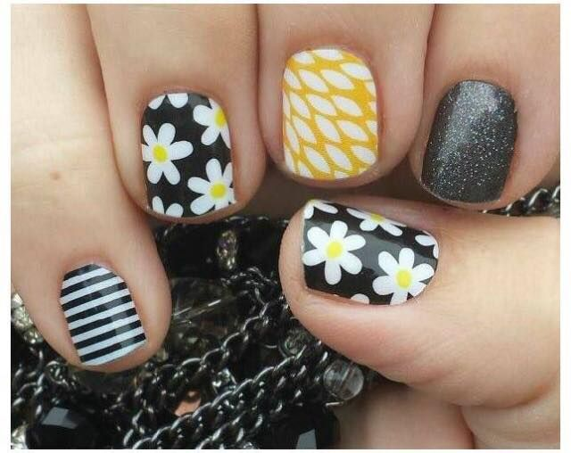 Simply Daisy, Sunny Lotus, Tungsten, black and white stripe wraps by Jamberry