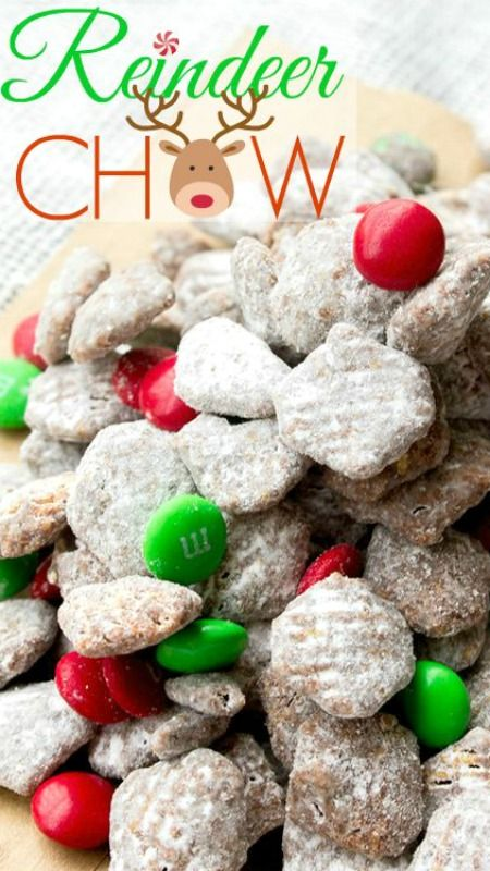 Reindeer Chow ~ a fun holiday twist… Chocolate and peanut butter coated crispy cereal, tossed in powdered sugar. Seriously the