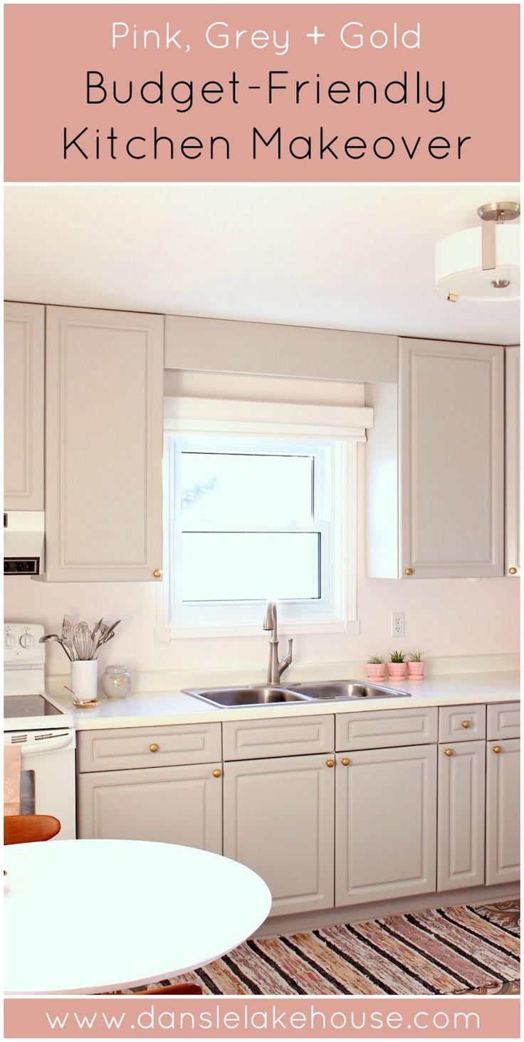 BudgetFriendly Grey, Gold + Pink Kitchen Makeover