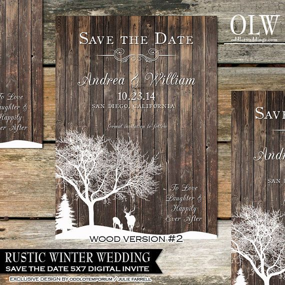 Rustic Winter Wedding Invitations Country Winter by OddLotEmporium