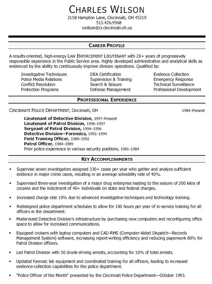 sample detective resumes Division Resume