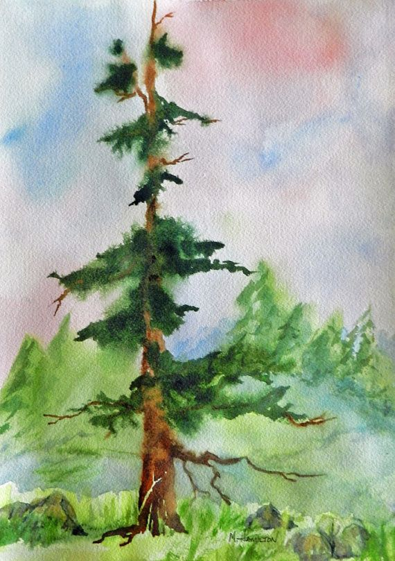 Fir Tree Ethereal Woodland Art Dreamy Watercolor By