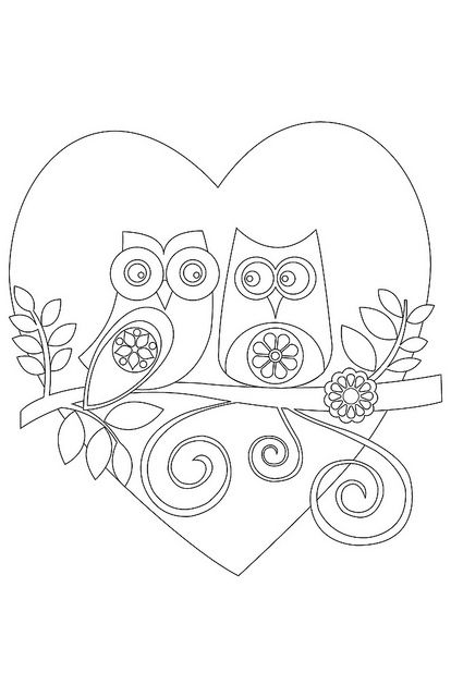 owls cute color page for valentine s