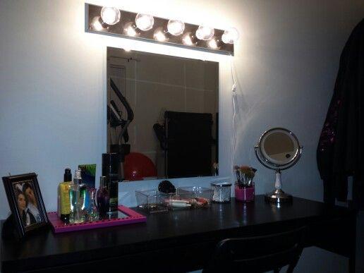 DIY Make Up Vanity Ikea Micke Desk 60 Ikea Mirror 10 Ikea Chair 12 Vanity Light 12 Amazon