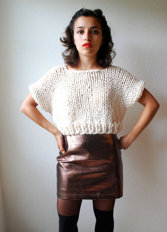 The SOHO Crop Top Sweater Hand Knit In Fisherman By