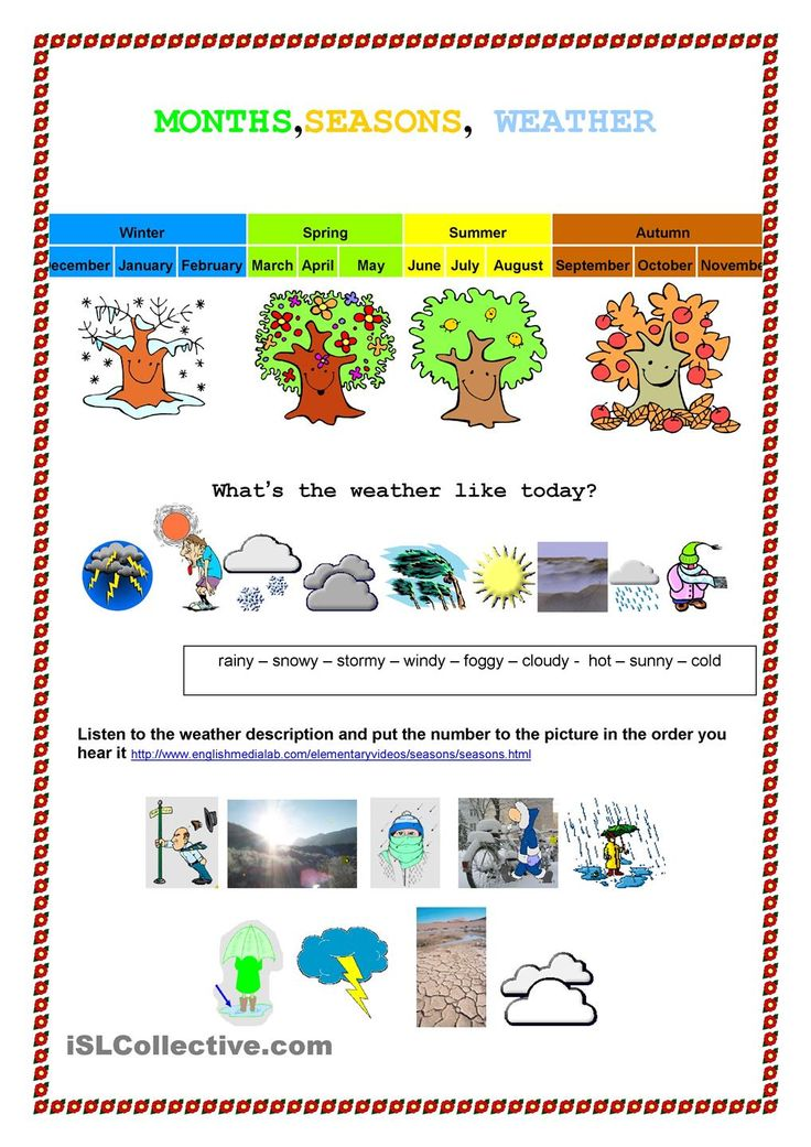 Month, seasons weather English Pinterest Weather and