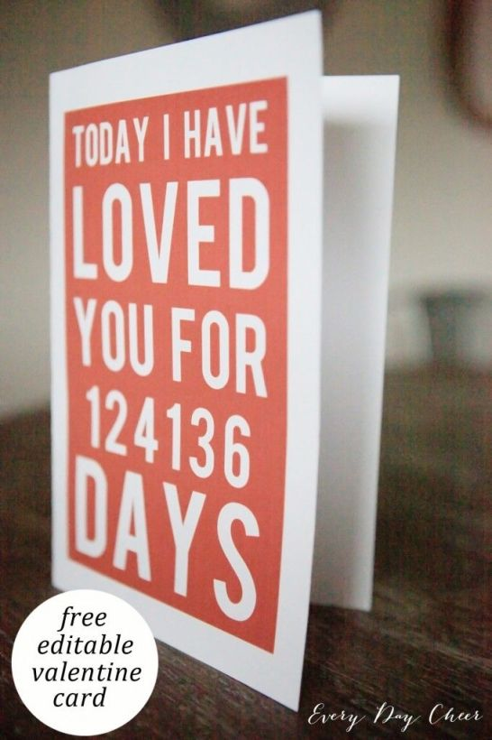 "Printable Valentines Day Card with ""I've loved you for xx days"". The perfect personalized card for your Valentine!:"