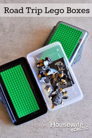 PIN FOR LATER - You'll love this genius way to let the kids take legos on road trips AND keep them organized!