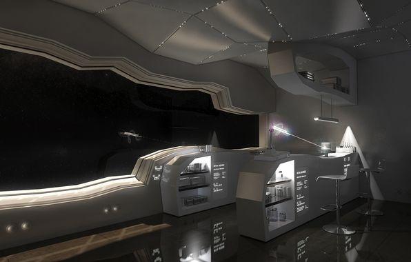Wallpaper Art Building Room Space Ship Beam Window