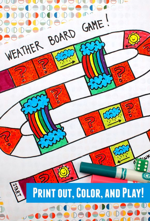 Printable Weather Board Game Board games, Game and Weather