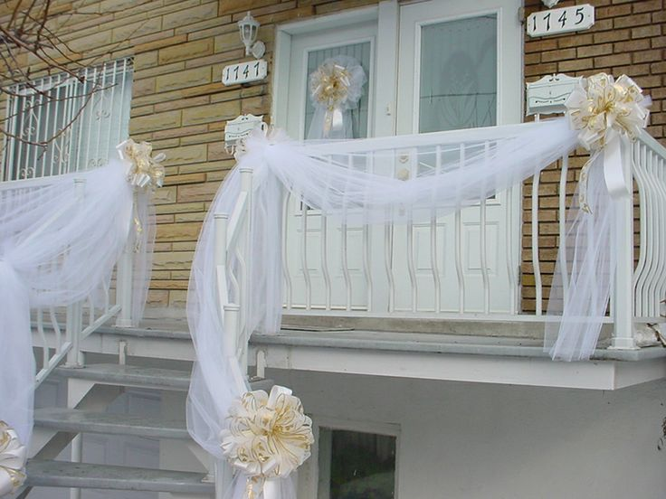 Gold Amp White Wedding Door Bow Amp Railing Tulle Drapes 2 Flowers Amp Bows Theme Pinterest