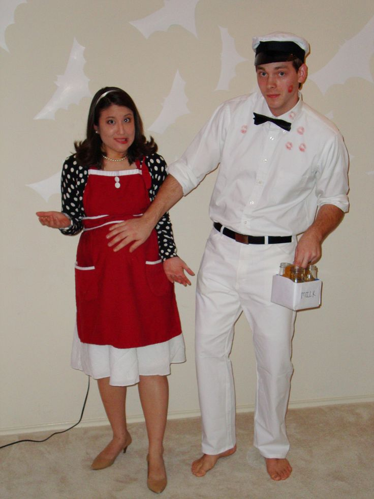 Milk man and 50s pregnant lady costume.  Too funny