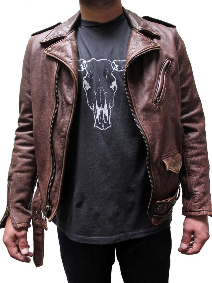Schott Vintaged Fitted Men's Cowhide Leather Motorcycle