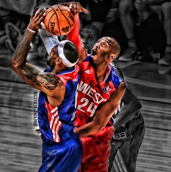 Kobe Bryant blocking Lebron James Kobe Bryant