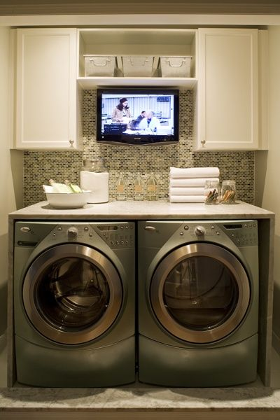 Laundry Room Inspiration! A tv in the laundry room…UMMM YES PLEASE !!!! LOL