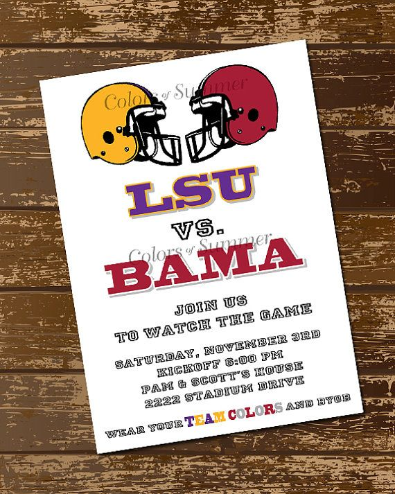 Football Invitation, Teams, Battle, Championship, Tailgate