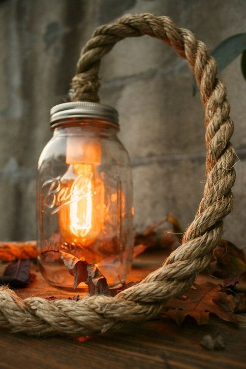 Edison Bulb In A Mason Jar As A Homemade Hanging Lamp