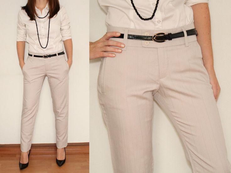 Skinny Dress Pants Ladies Trousers In Light Grey For Women