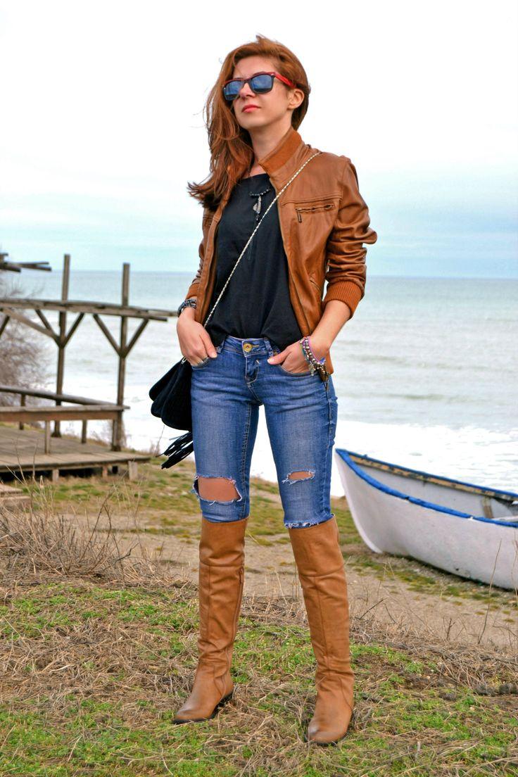 Women's Brown Leather Bomber Jacket, Black Crewneck T