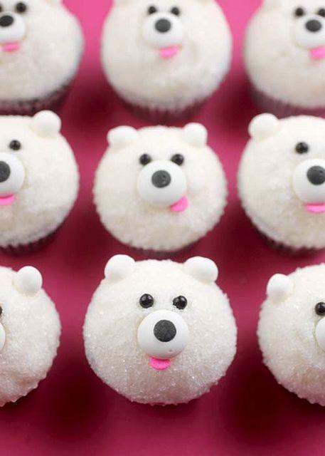 Mini Polar Bear Cupcakes  – OMG!!  Love these!