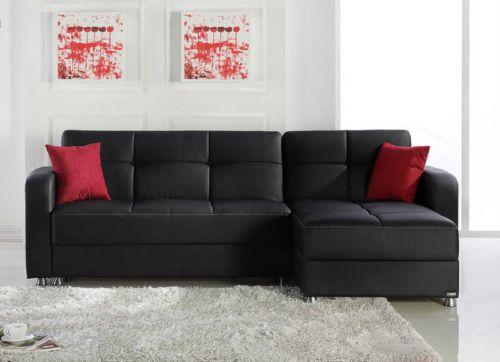 Black Eco Leather Convertible Sectional European Sofa Sleeper Best