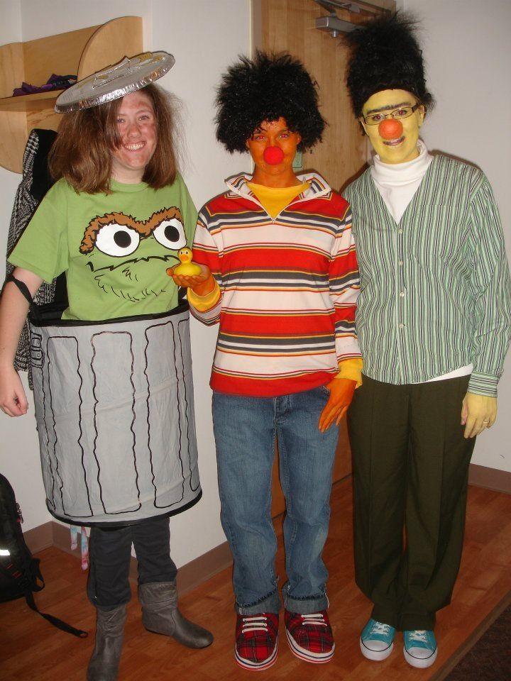 Homemade Halloween costumes! Bert,Ernie and Oscar the