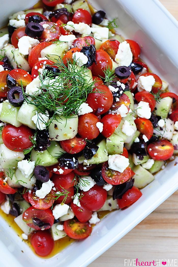 Check out Tomato Cucumber Salad with Olives and Feta. It's