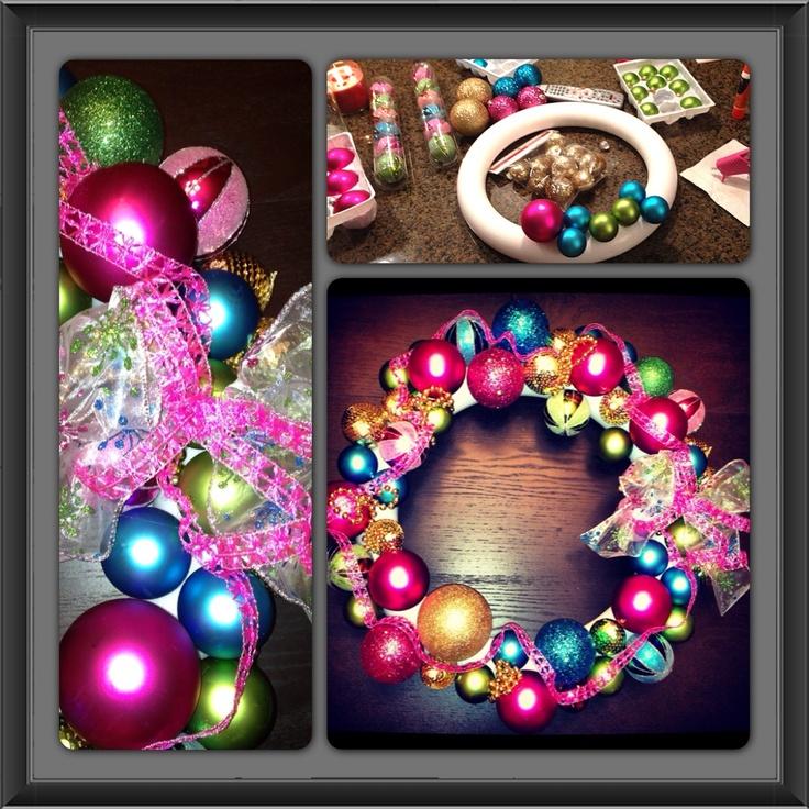 DIY Ornament wreath!! Pop the top off the ornaments, dig