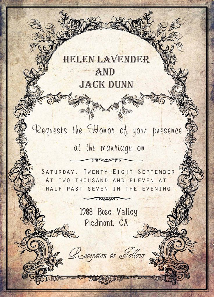 Invitation Wording Christian Vintage wedding invitation
