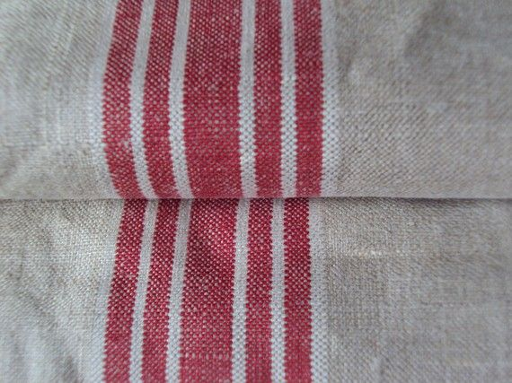 Vintage French Linen Hemp Flax Mangle Cloth 5 Red White Stripes Rework Project Tablecloth