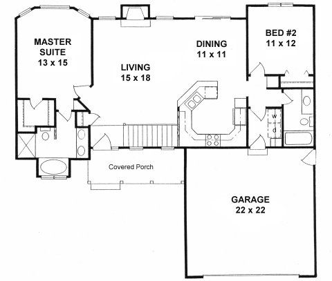 Plan 1179 Ranch Style Small House 2 Bedroom Split