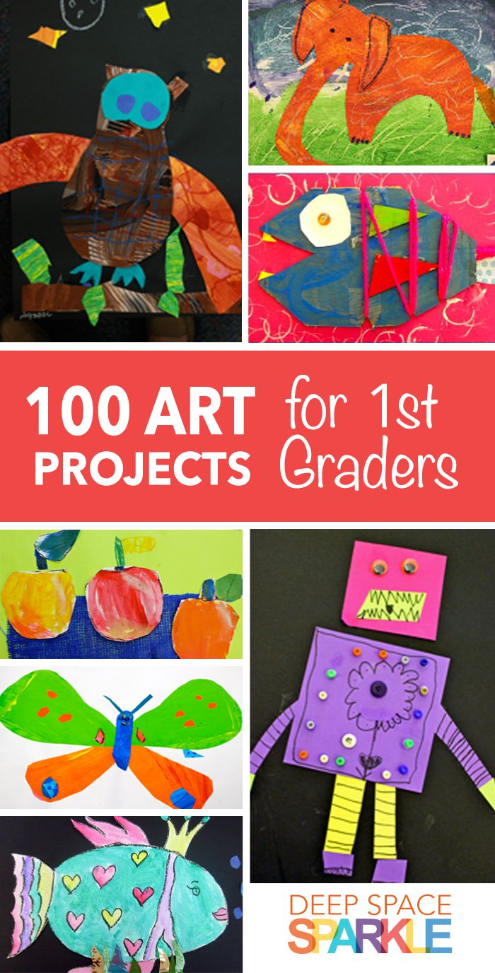 100 Art Projects for First Grade Students. Project ideas and lesson plans include: art collages, painting,