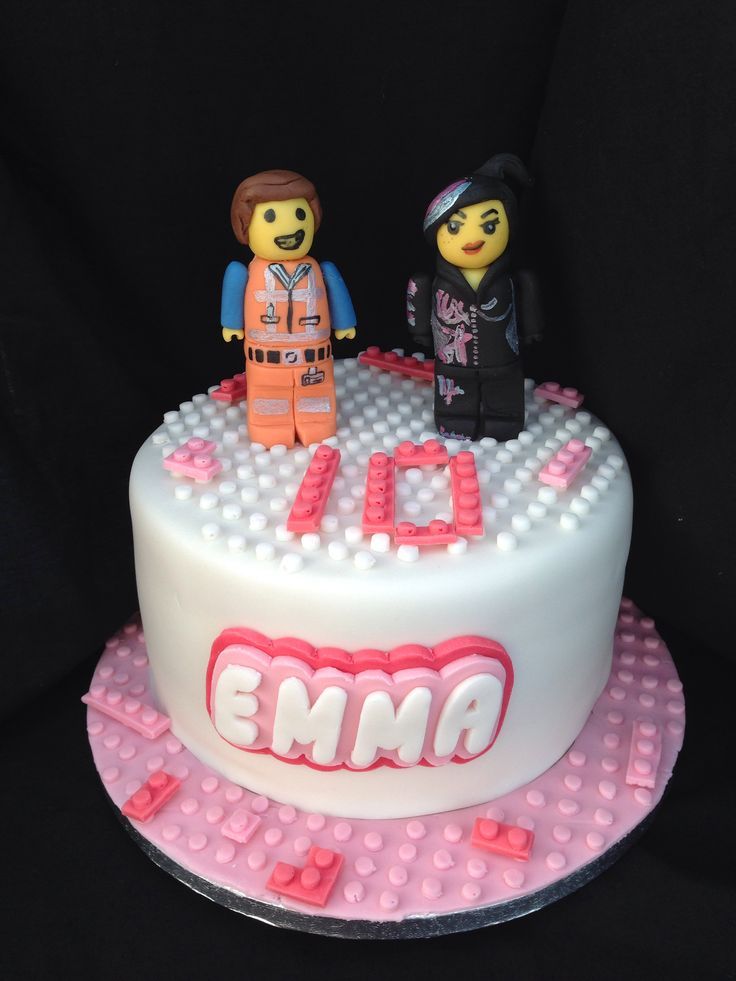 Lego Movie Theme Cake Emmet And Wyldstyle Mandy Made