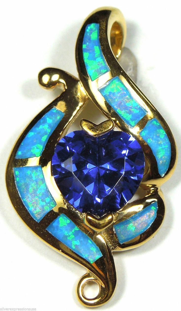 Gold plated heart tanzanite blue fire opal inlay 925