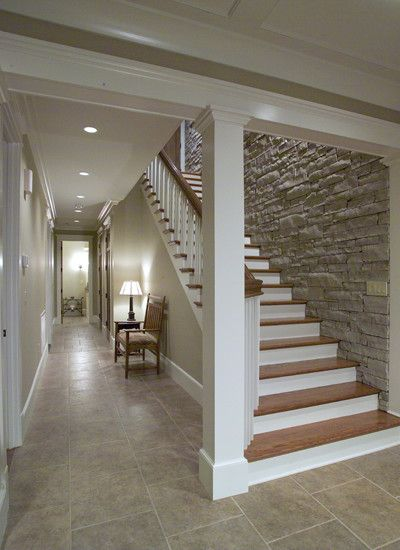 Love the stone wall down the basement stairs — Staircase Design, Pictures, Remodel, Decor and Ideas