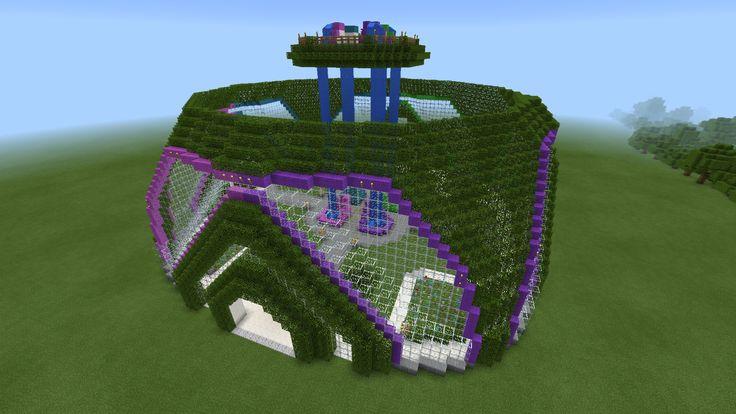 Minecraft Garden Dome Waterfall Neon Glass Green House Planetarium Creation Minecraft