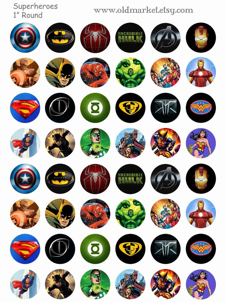 FREE Superhero Bottle Cap Collage Sheet, includes