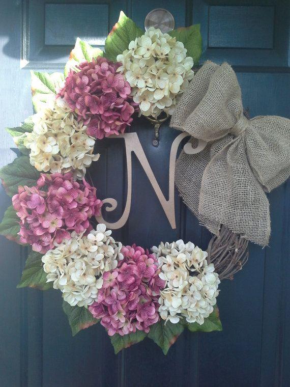Front door wreath, hydrange