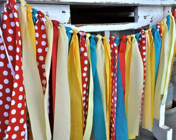 Red Turquoise Yellow Fabric Rag Tie Banner Birthday Party Dessert Table Circus Carnival