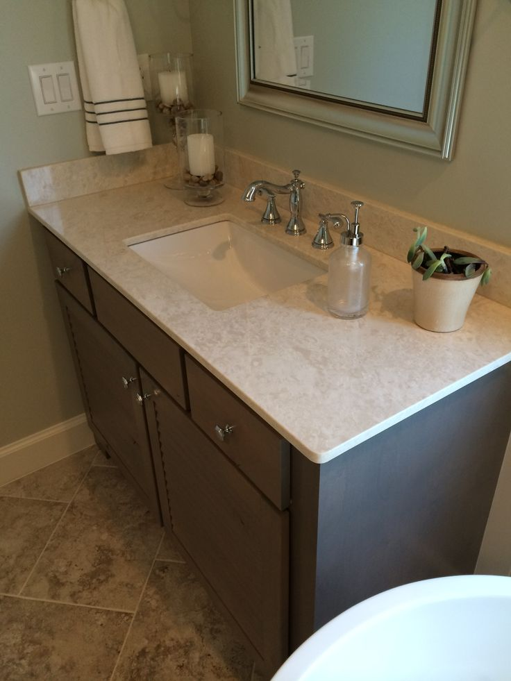 Botticino Fiorito Polished Marble Vanity Top With Dark