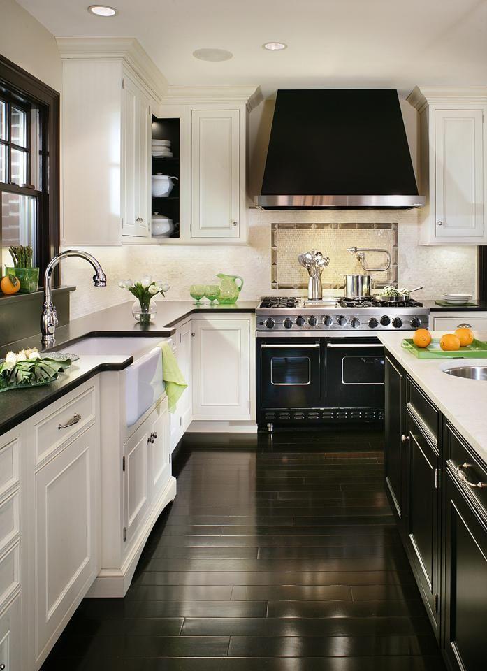 White Kitchen With Dark Wood Floor Designs from @Home & Garden Sphere