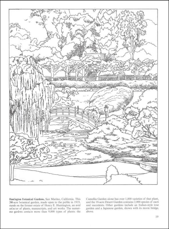 Nature Coloring Pages For Adults Botanical Gardens