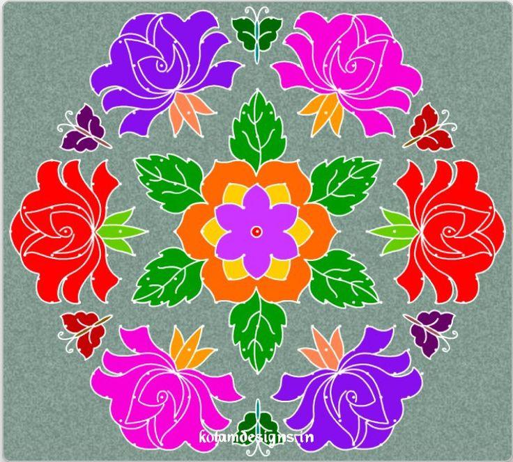 FlowerKolamWithDots.jpg (743×671) Rangoli Pinterest